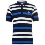 Lonsdale férfi csíkos galléros póló, sötétkék-kék-fehér