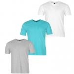 Donnay férfi V-nyakú póló triopack, fehér-szürke-kék